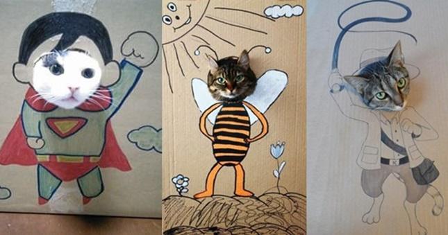 猫用顔出し看板!