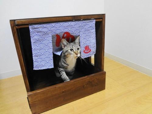 猫トイレカバー 温泉風。
